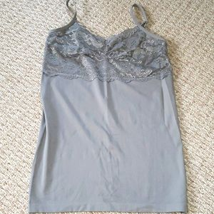 Stretchy grey lace tanktop